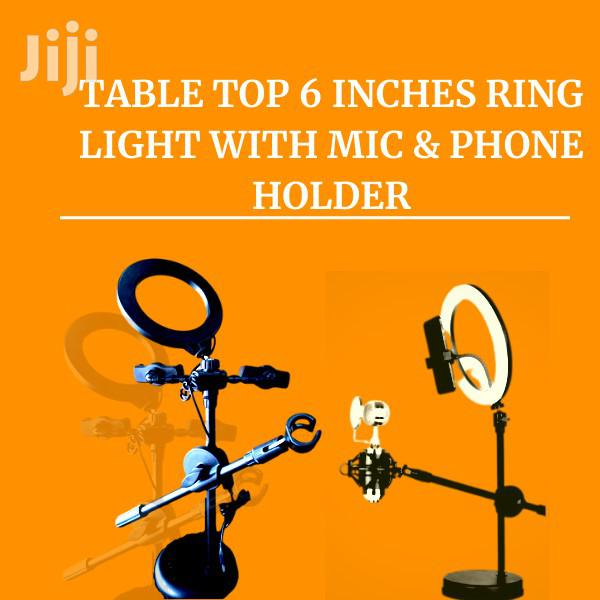 TABLE TOP 6 INCHES Ring Light WITH MIC & Phone Holder | Accessories for Mobile Phones & Tablets for sale in Accra Metropolitan, Greater Accra, Ghana