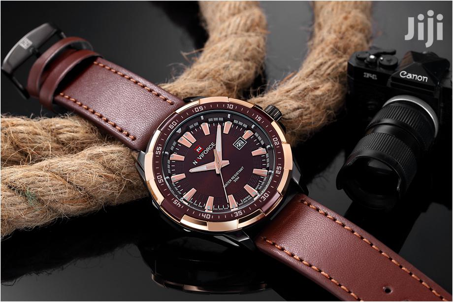 Analogue Naviforce Quartz Men's Leather Watch-brown | Watches for sale in Achimota, Greater Accra, Ghana