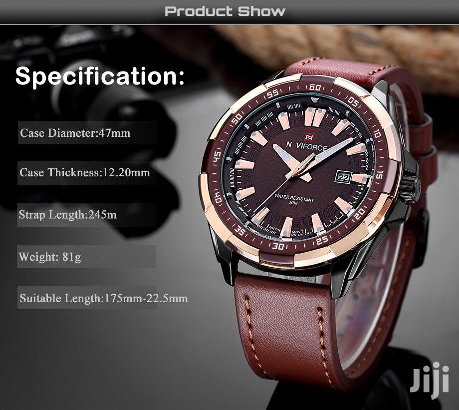 Analogue Naviforce Quartz Men's Leather Watch-brown