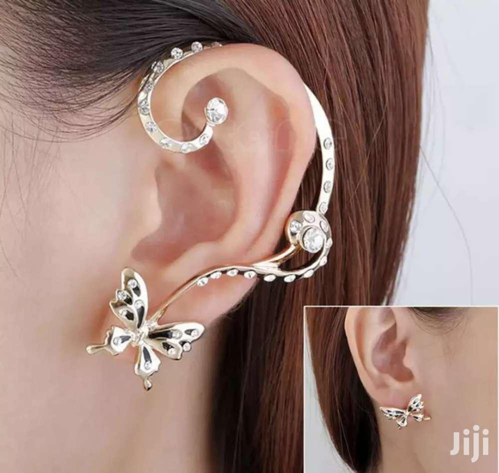 1 Pair Rhinestone Brincos Bijoux Butterfly Clip Crystal Earring Cuff