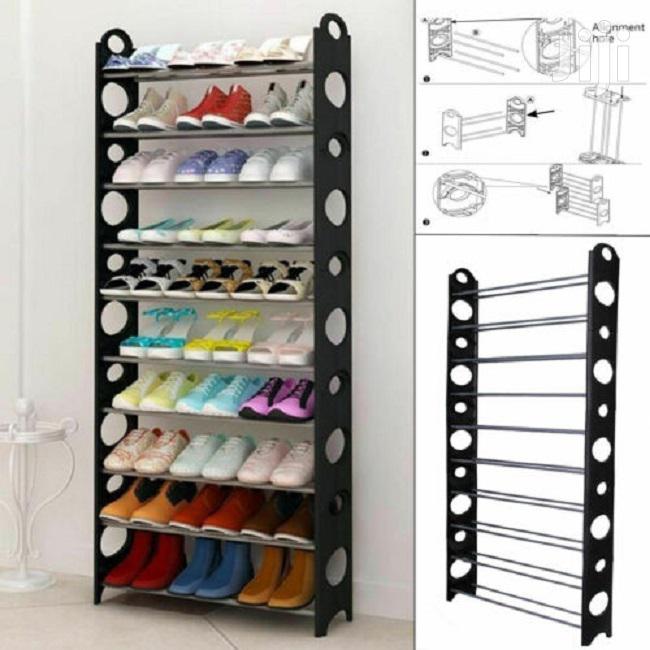 10 Tier Shoe Storage Shelf Rack Organizer Shelf Stand Black