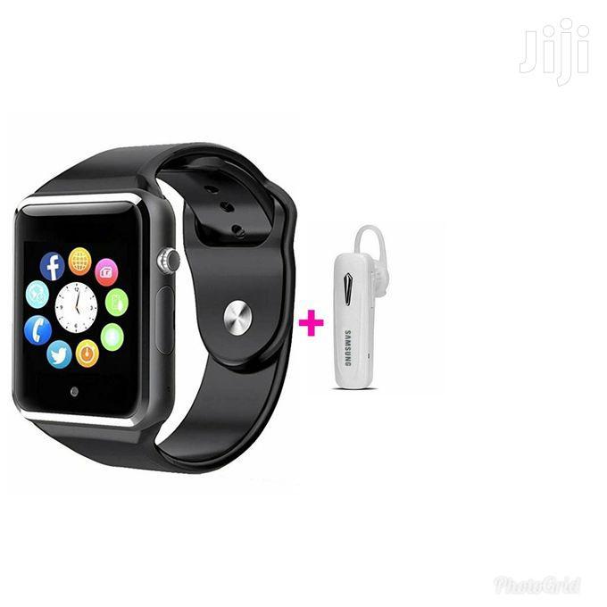 A1 Smart Watch – Black + Free Bluetooth Headset