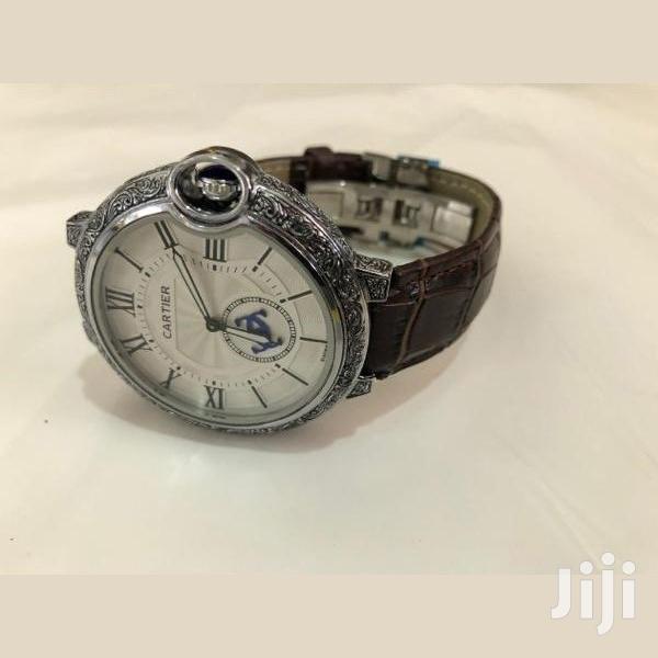 Analog Genuine Leather Strap Cartier Watch