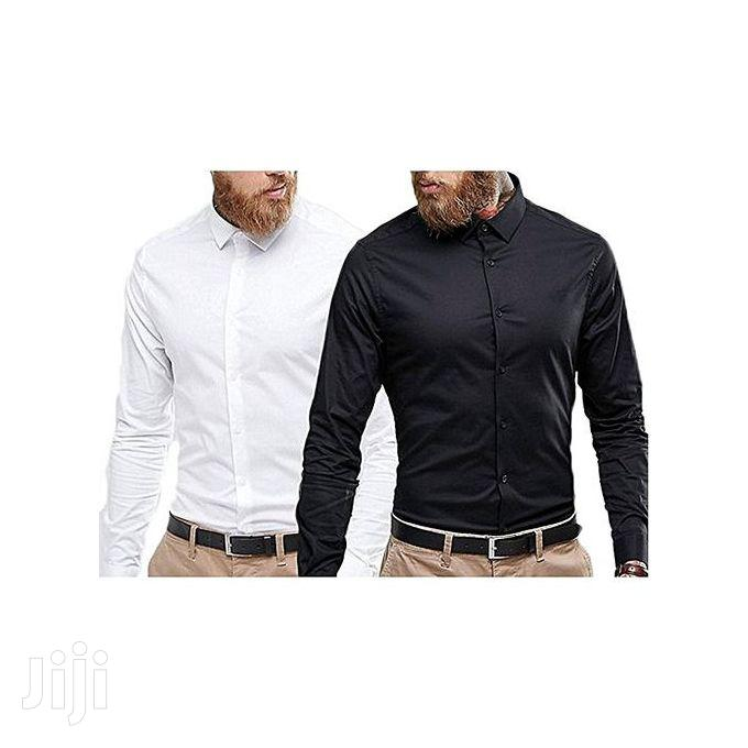Long Sleeves Shirt - 2 Pieces, Black and White