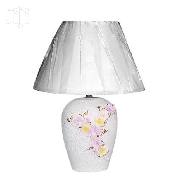 Floral Design Ceramic Table Lamp – White