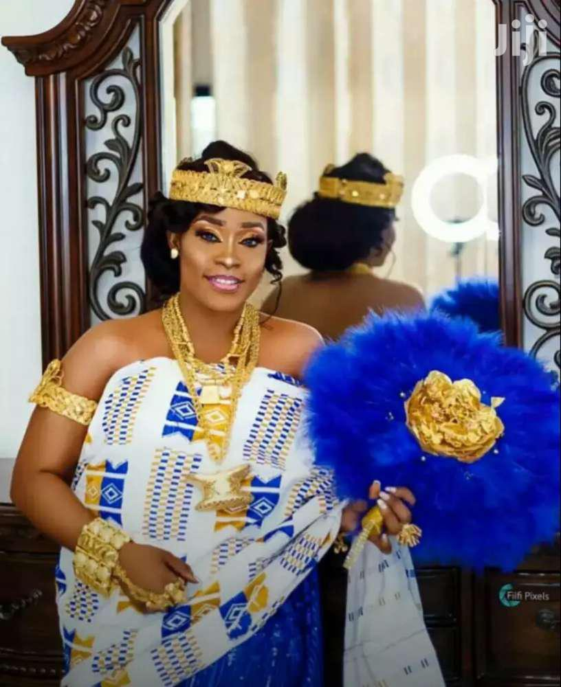 White, Gold And Royal Blue Kente Cloth New