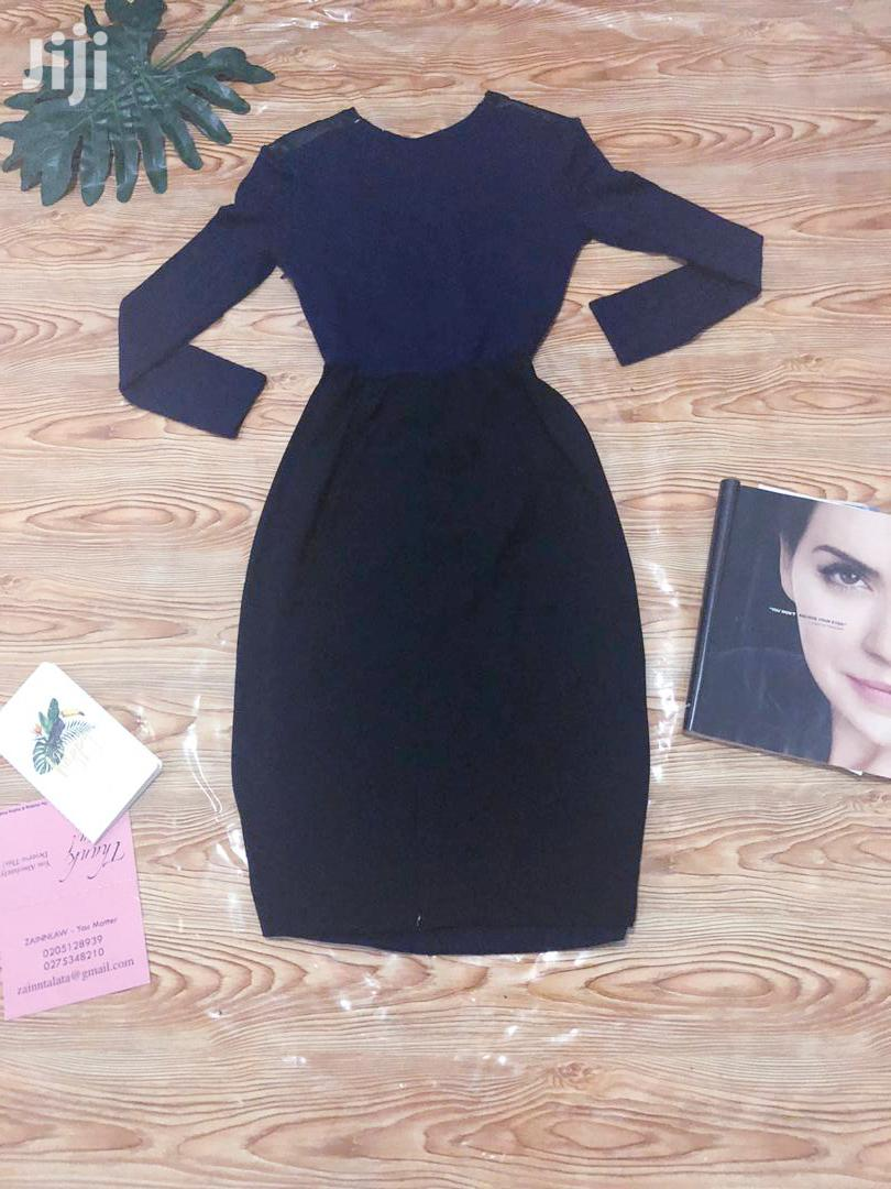 Archive: Navy Blue N Black With Leather Bodycon Dress