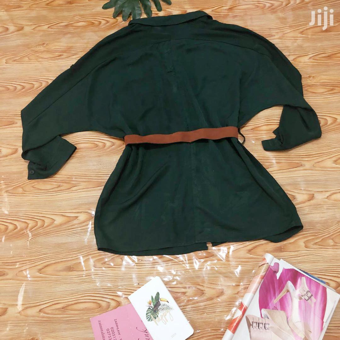 Forest Green Shirt Dress With A Belt