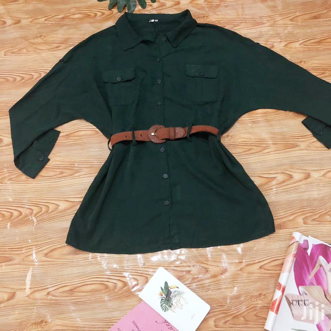 Forest Green Shirt Dress With A Belt | Clothing for sale in Odorkor, Greater Accra, Ghana