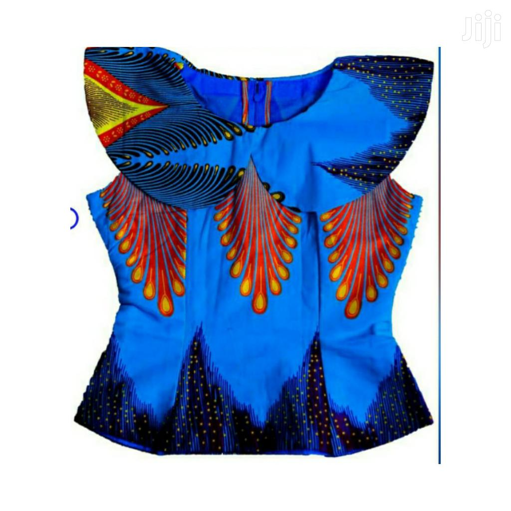 Ladies Beautiful Ankara Top Size 10 Blue Lapel