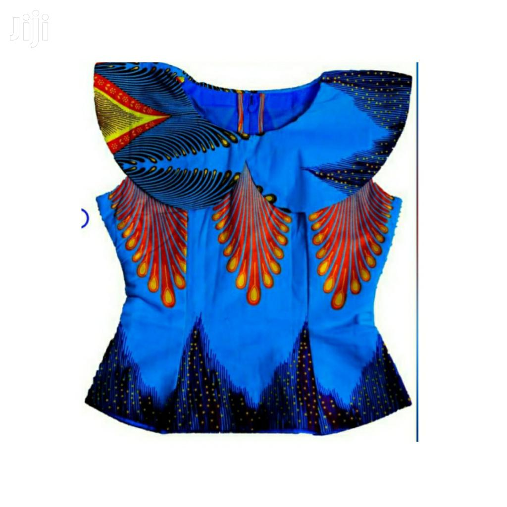 Ladies Beautiful Ankara Top Size 10 Blue Lapel | Clothing for sale in Teshie new Town, Greater Accra, Ghana