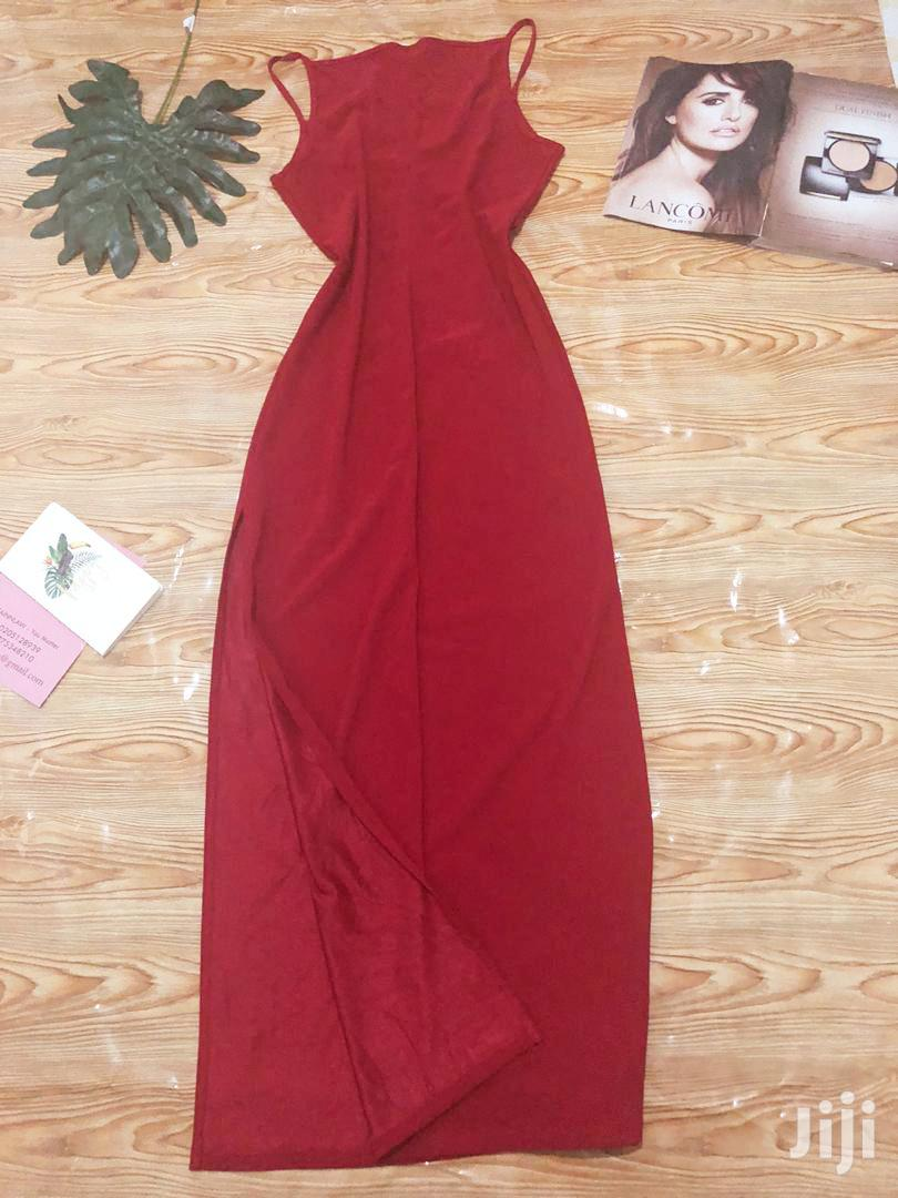 Archive: Red Long Bodycon Dress With A Side Slit
