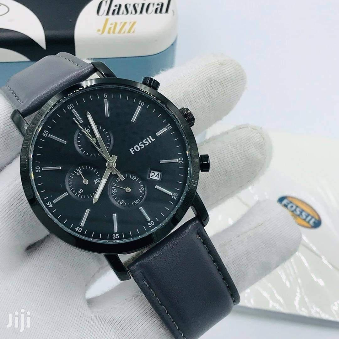 Archive: All Black Fossil Brand Leather Watch