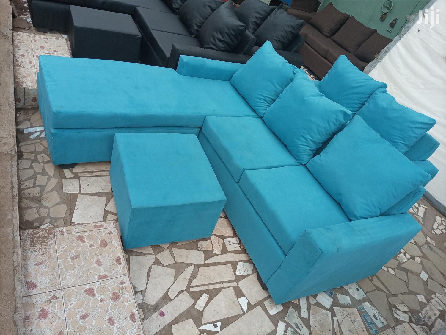 Sea Blue L Shaped Sofa. Free Delivery