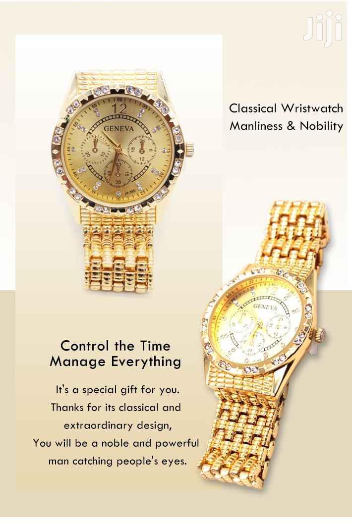 Geneva Alloy Brand Quartz Watch Luxury(Gold)