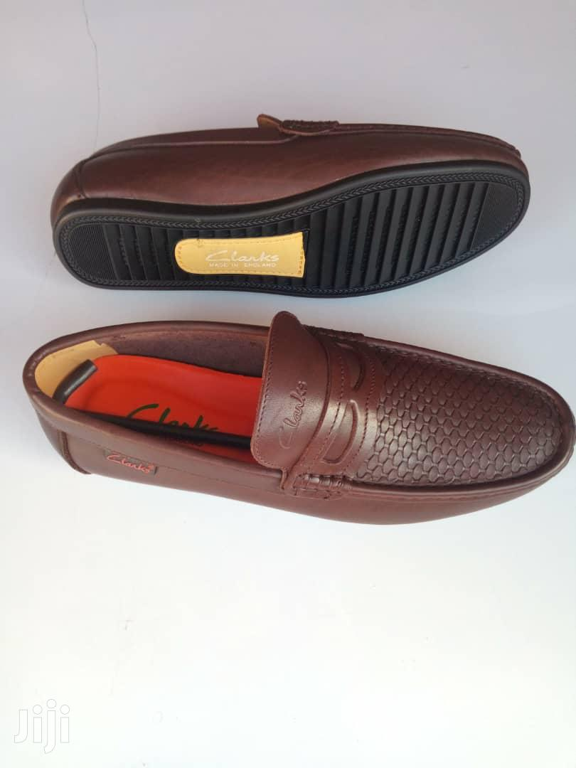 Clarks Brown Leather Loafers-sz 43