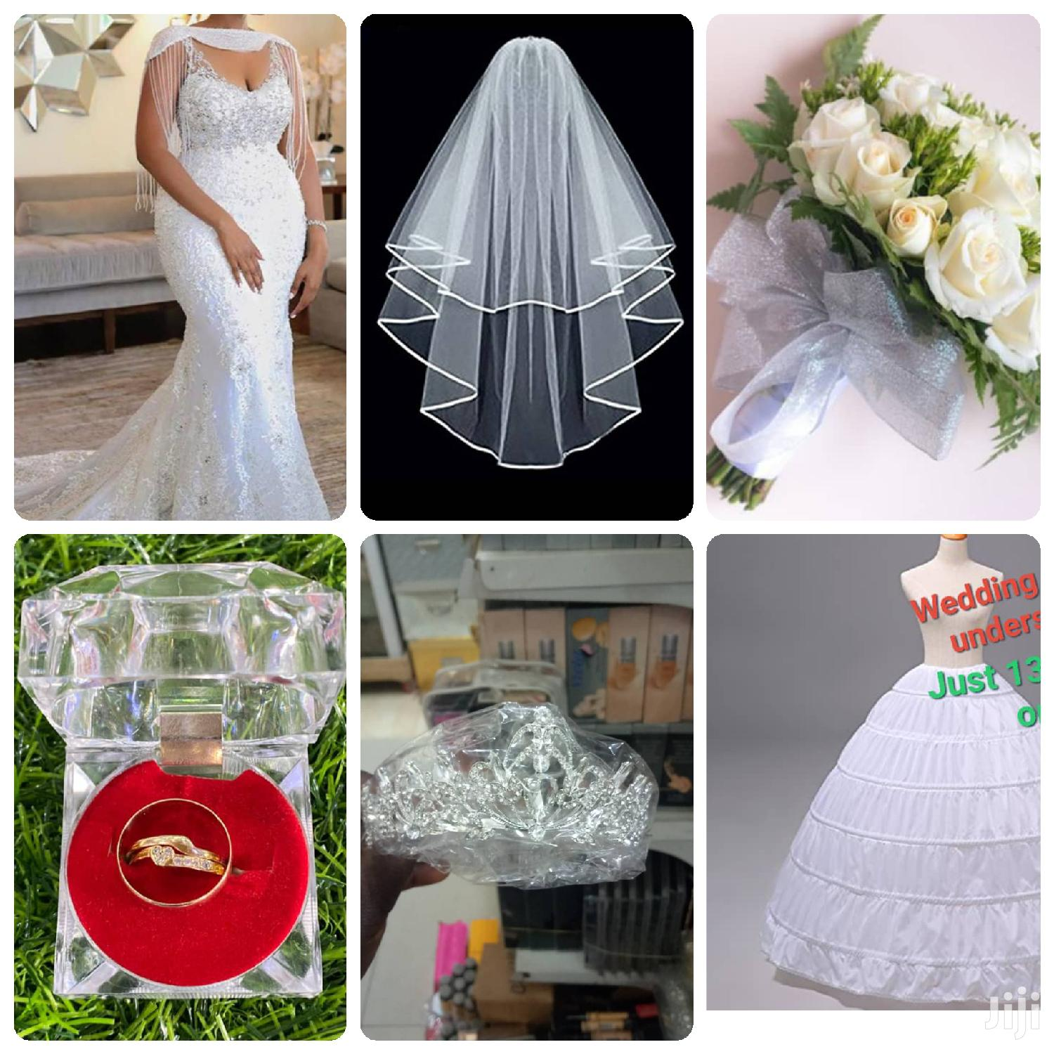 Gown, Bouquet,3 Set of Gold Dust Rings, Underskirt Etc.