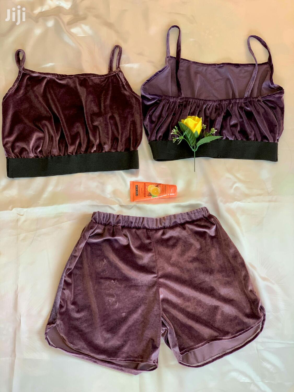 Handmade Velvet Crop Top And Shorts