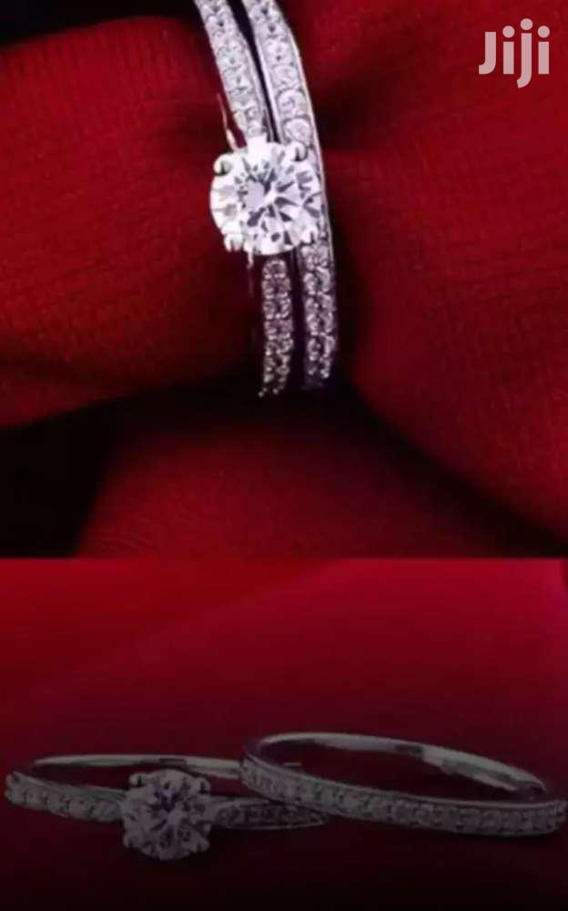 Archive: Bijoux Polished LIFETIME Silver Crystal Engagement/Wedding Double Ring