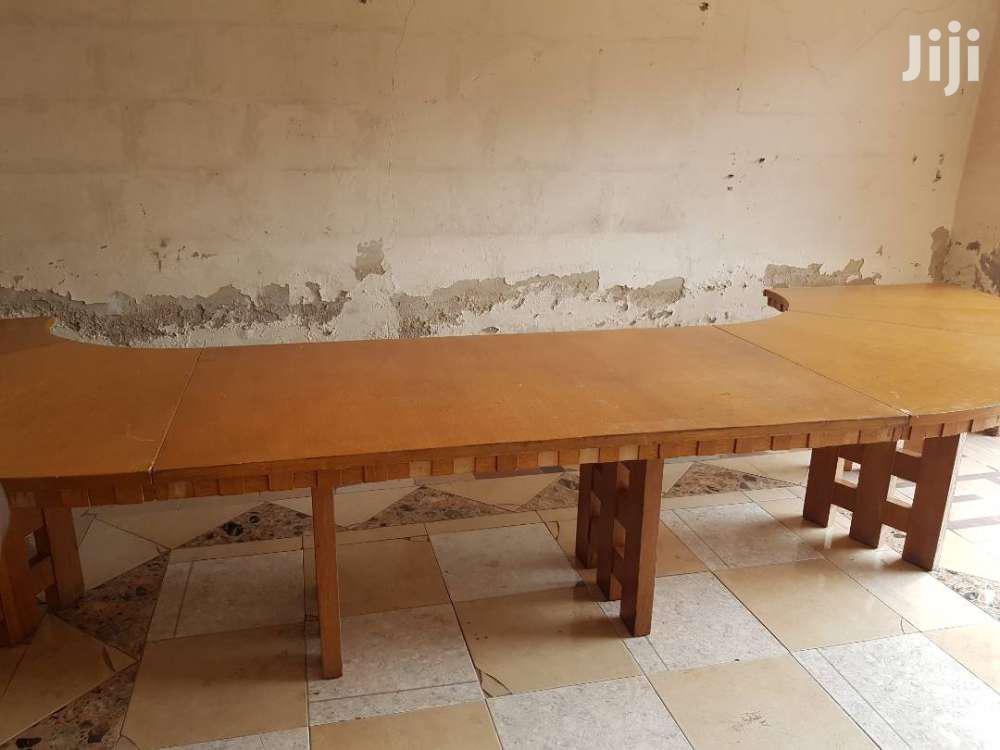 Large Curved Solid Wood Office Dining Table Triple Pedestal | Furniture for sale in Achimota, Greater Accra, Ghana