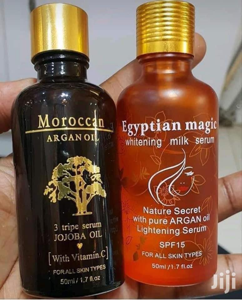 Moroccan Argan Oil and Egyptian Magic Whitening Milk.