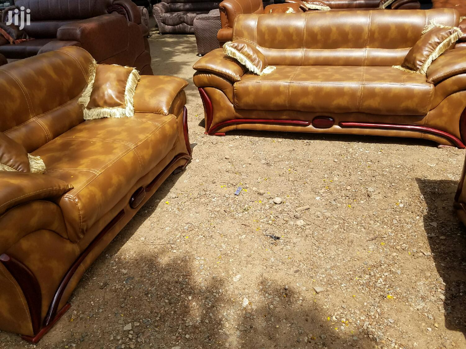 Brown Leather Sofa ( Free Delivery)