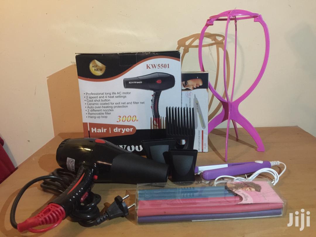 Hand Dryer + Straightener + Wigstand + Rollers