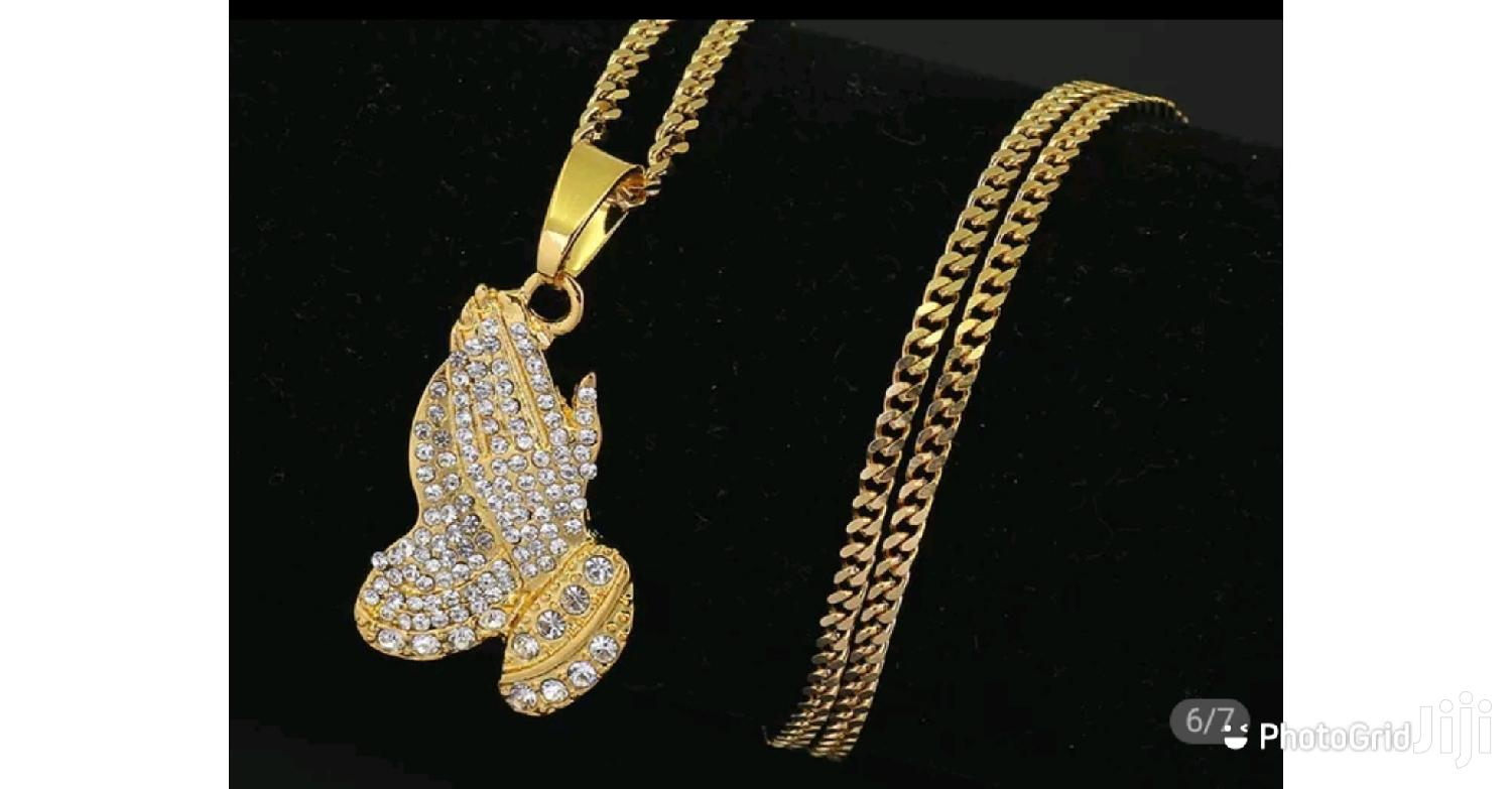 The Praying Hand Pendants And Necklaces Gift Gold Color | Jewelry for sale in Ga West Municipal, Greater Accra, Ghana