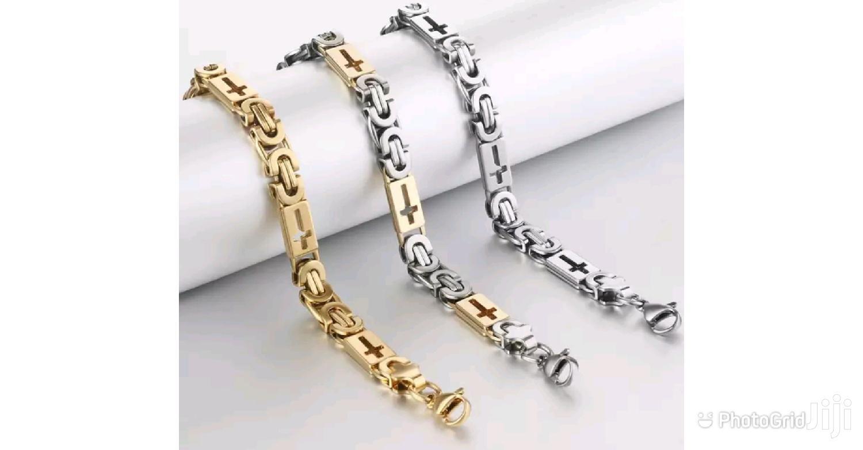 Stainless Steel 8mm Men Cross Chain Bracelet