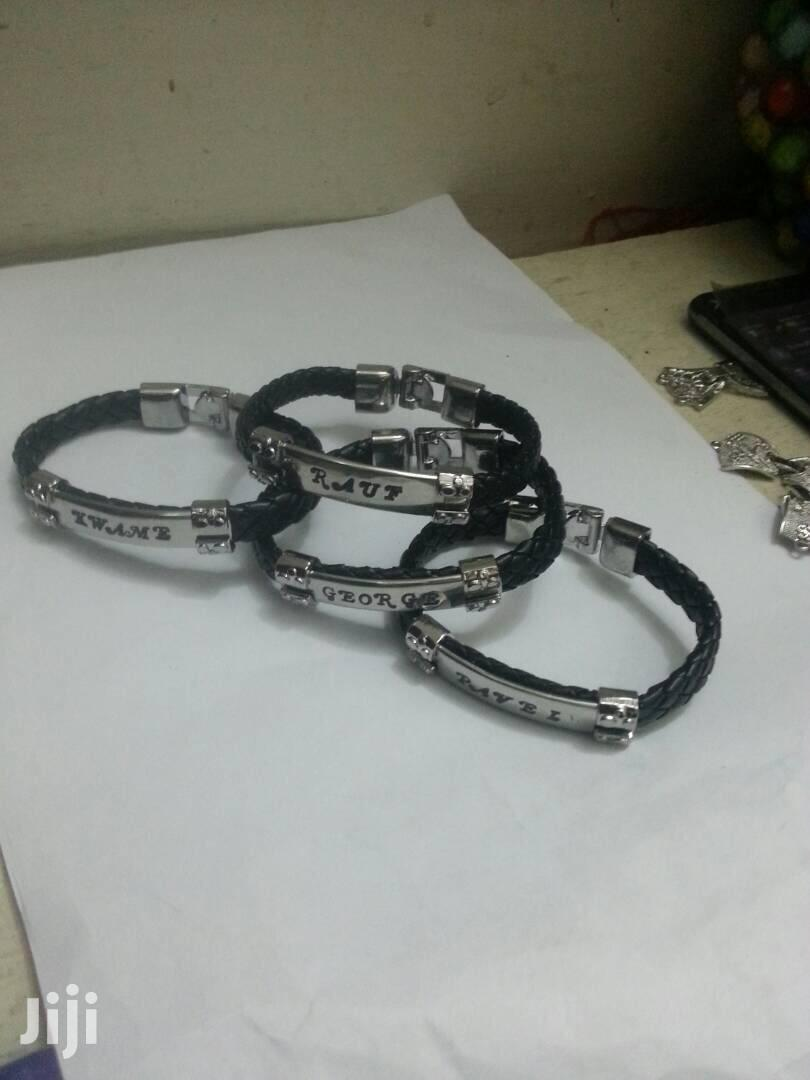 Archive: Customized Silver And Gold With Leather Bracelet
