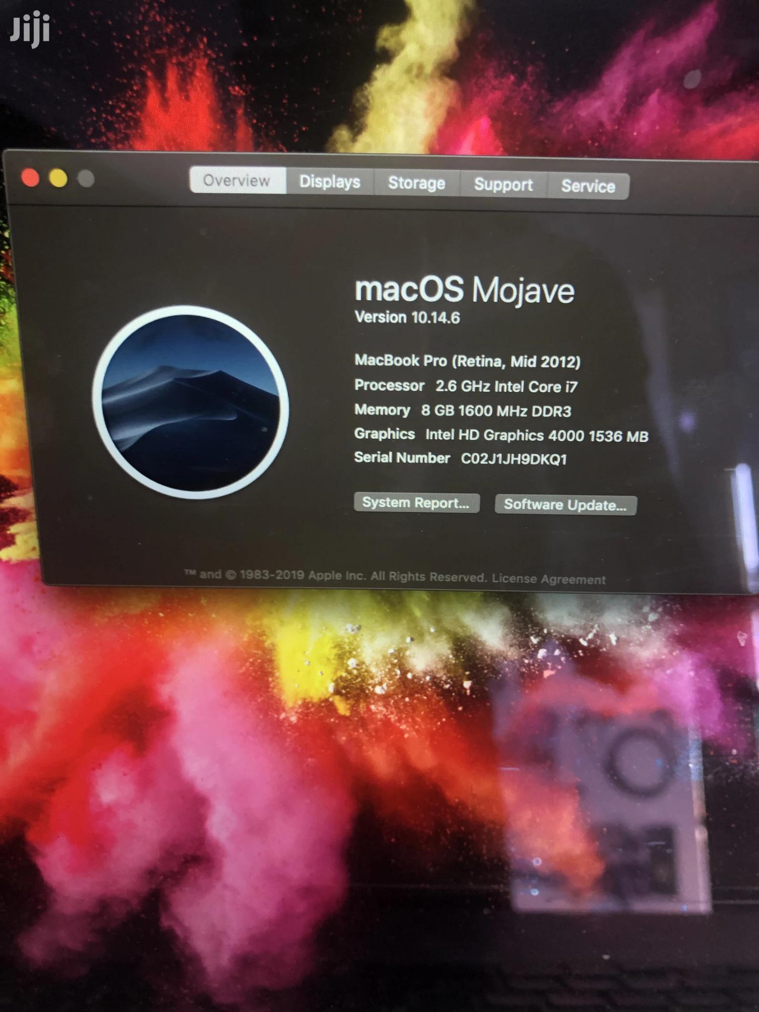 Laptop Apple MacBook Pro 8GB Intel Core I7 SSD 512GB | Laptops & Computers for sale in Adabraka, Greater Accra, Ghana