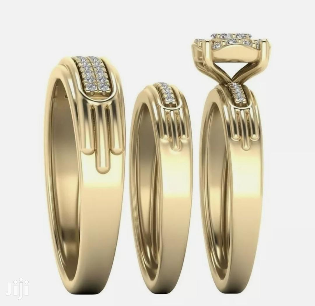 3 Pieces Gold Wedding Ring Set for Couples