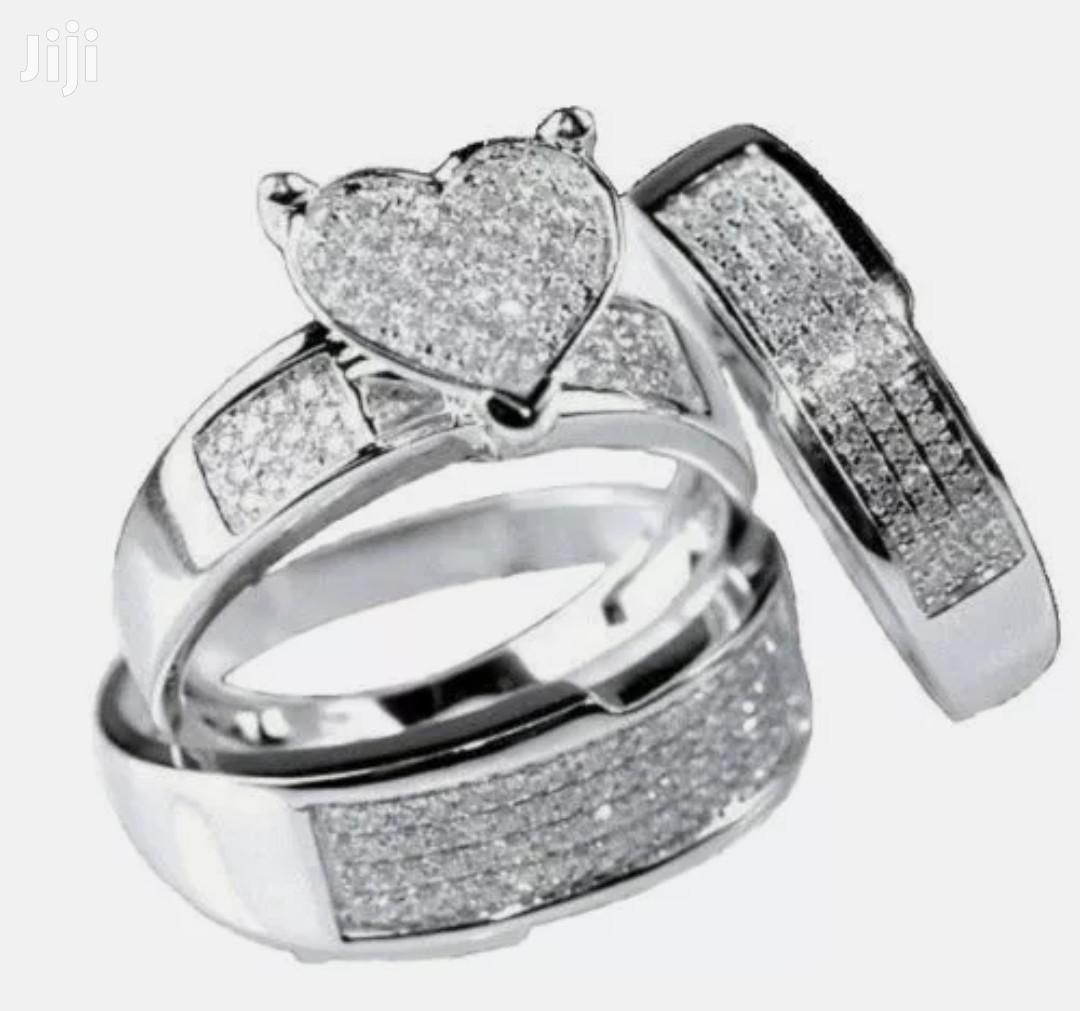3 Pieces Silver Diamond Studded Wedding Ring Set for Couples