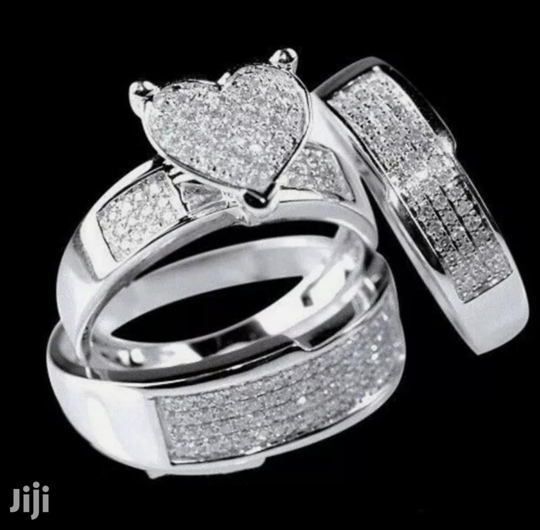3 Pieces Silver Diamond Studded Wedding Ring Set for Couples   Jewelry for sale in Ga South Municipal, Greater Accra, Ghana