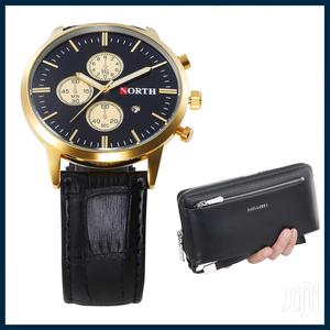 Date Quartz Analog Leather Strap Watch With Fashion Wallet   Watches for sale in Greater Accra, Achimota