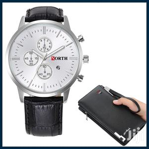 Leather Straps Analogue Quartz With Simple Mens Wallet   Watches for sale in Greater Accra, Achimota