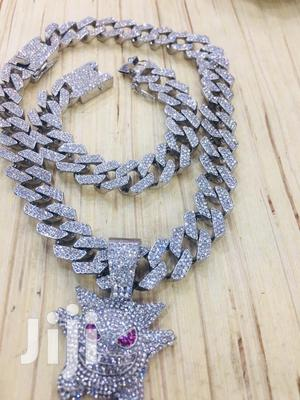 Iced Out Cuban Link Chain With Pendant and Iced Bracelet | Jewelry for sale in Greater Accra, East Legon